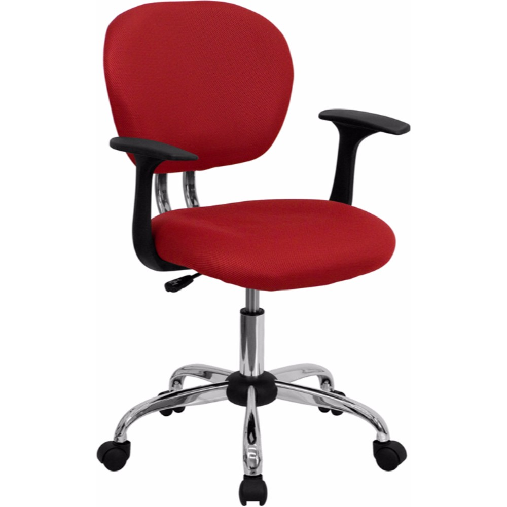 Offex Mid-back Red Mesh Task Chair with Arms and Chrome Base