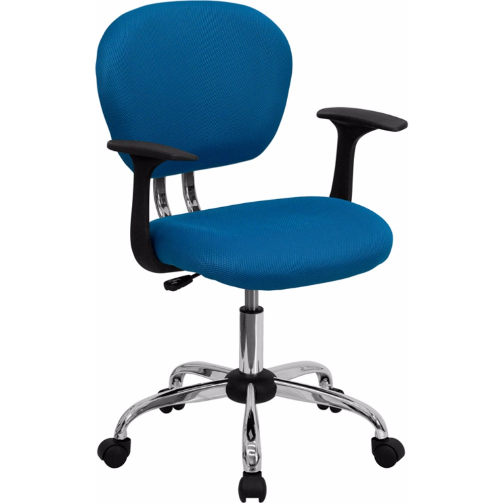 Offex Mid-Back Turquoise Mesh Task Chair with Arms and Chrome Base [H-2376-F-TUR-ARMS-GG]