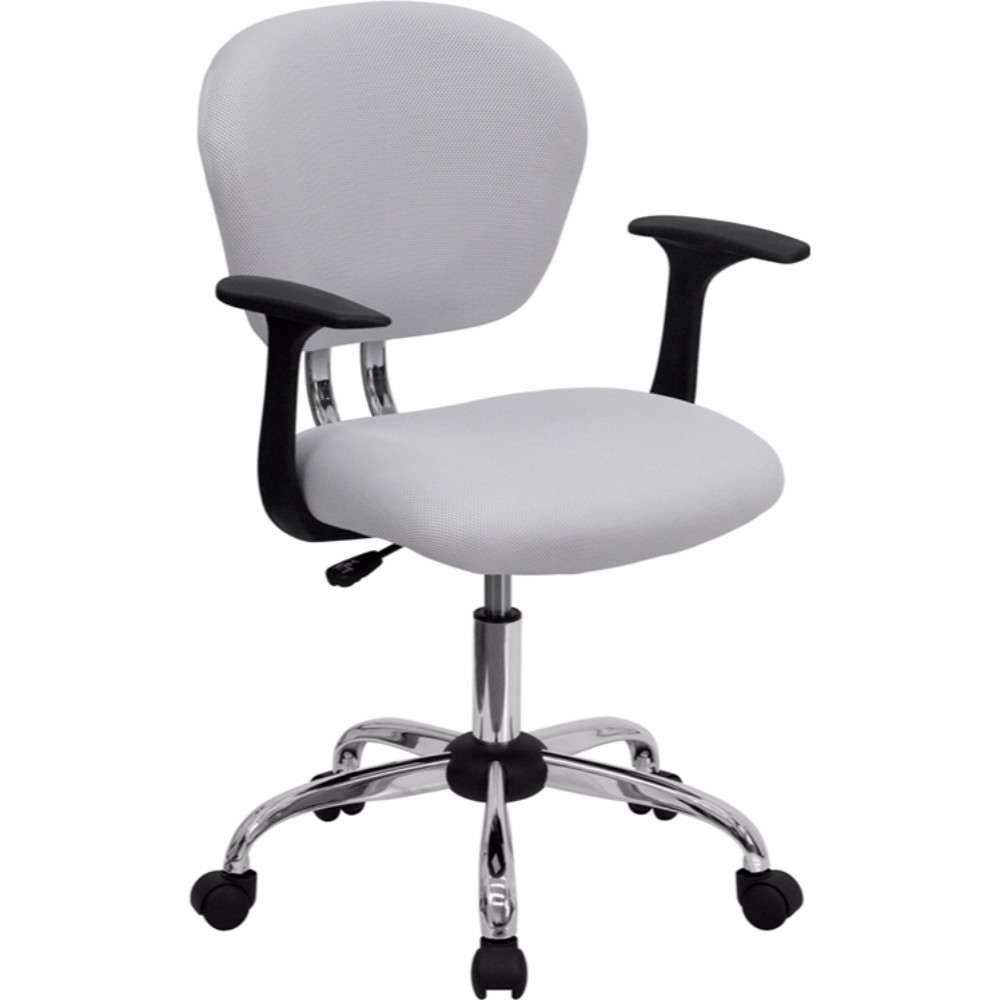 Offex Mid-back White Mesh Task Chair with Arms and Chrome Base