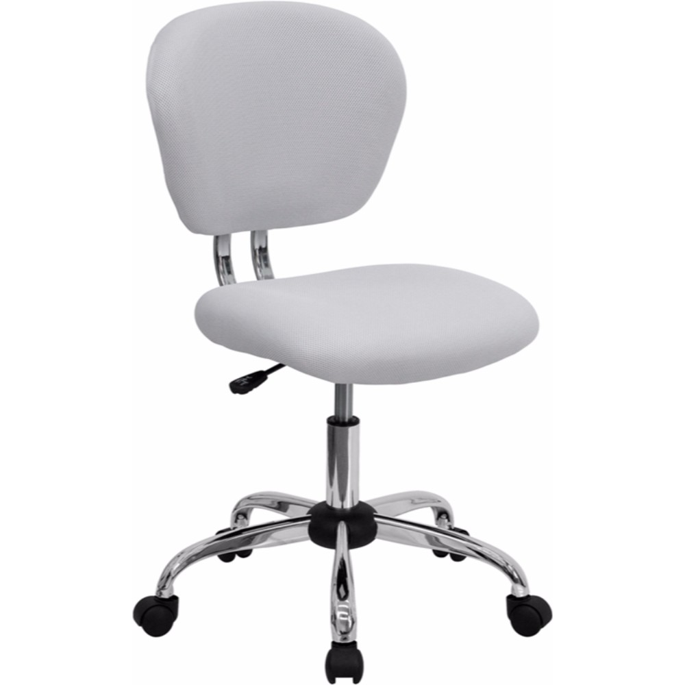 Offex Mid-back White Mesh Task Chair with Chrome Base