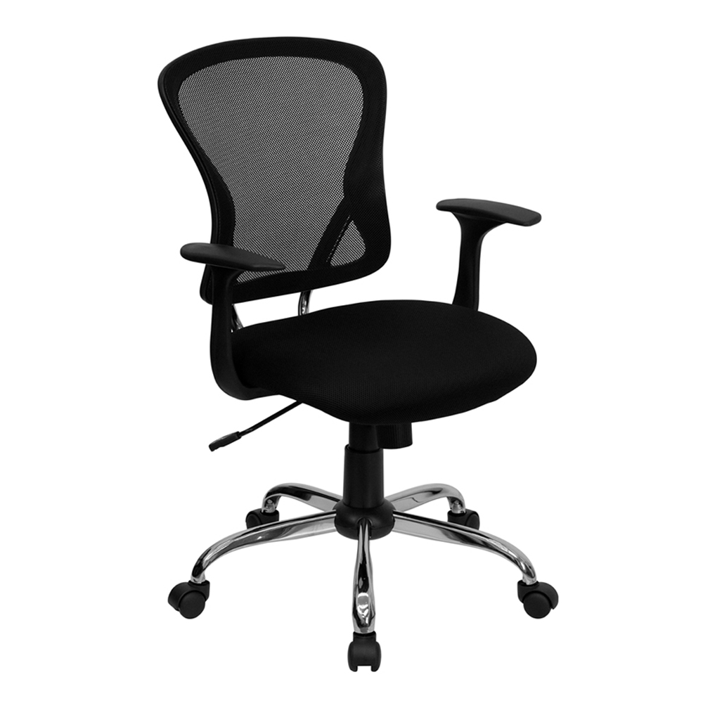 Offex Mid-Back Black Mesh Office Chair with Chrome Finished Base
