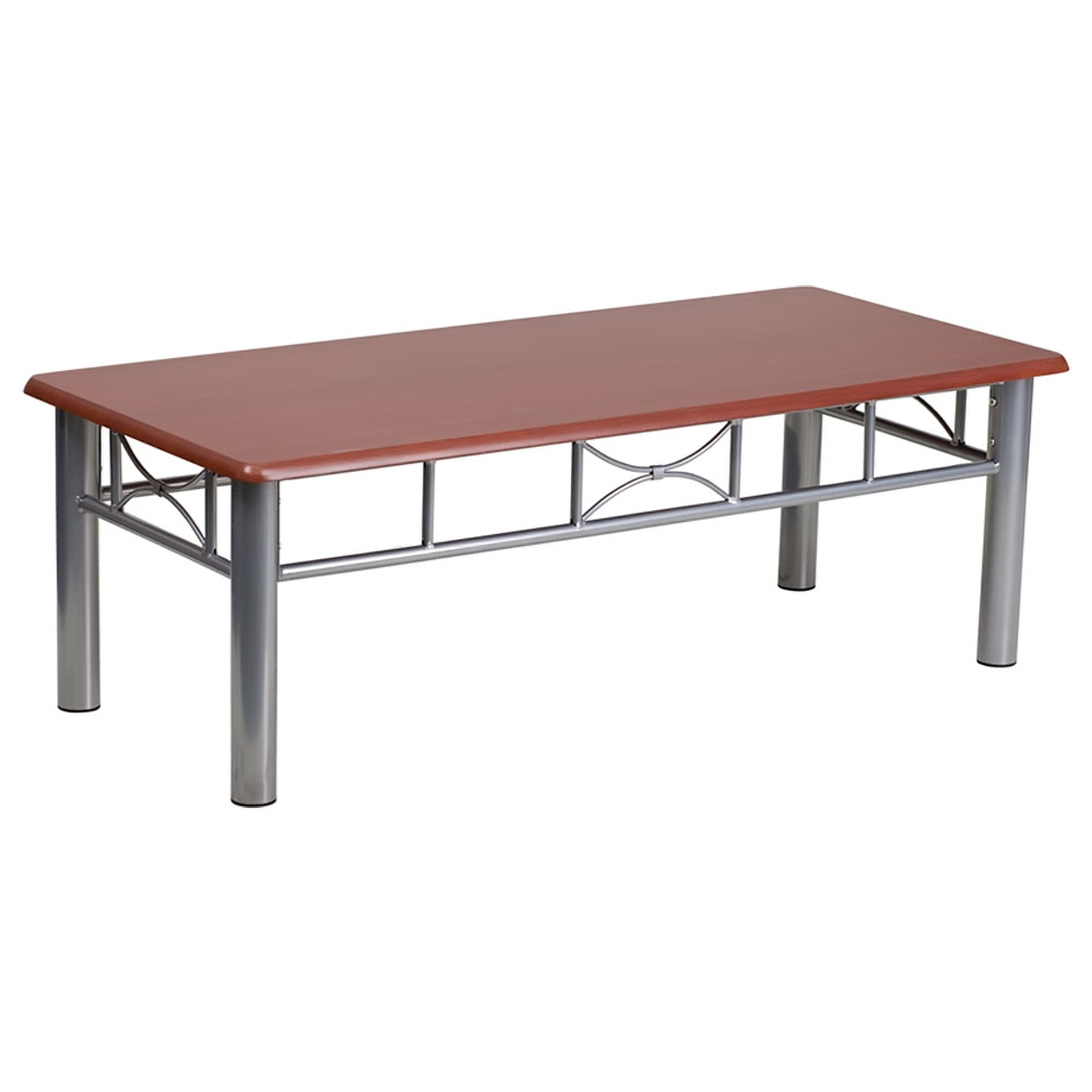 Offex Mahogany Laminate Coffee Table with Silver Steel Frame