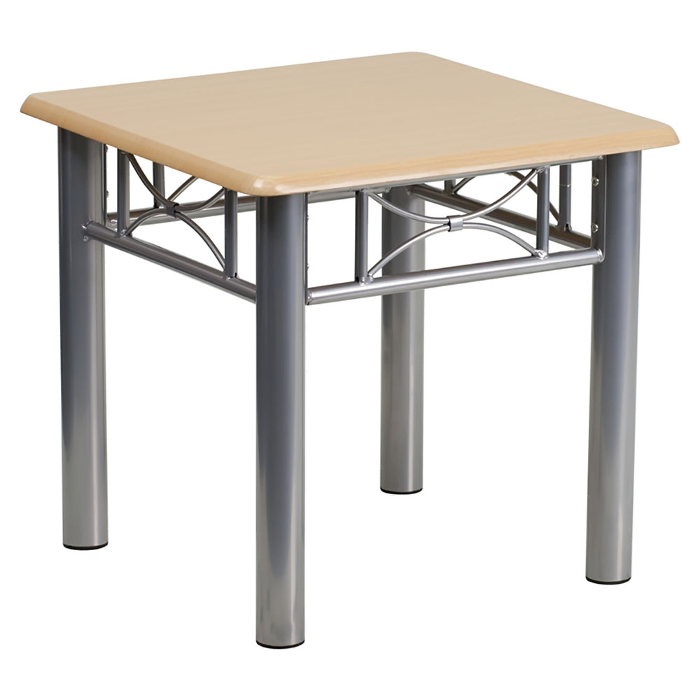Offex JB-6-END-NAT-GG Natural Laminate End Table with Silver Steel Frame