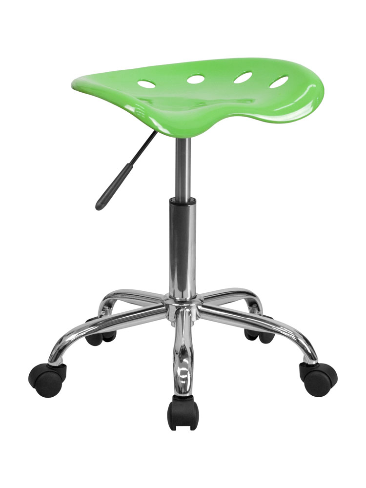 Offex Vibrant Apple Green Tractor Seat and Chrome Stool
