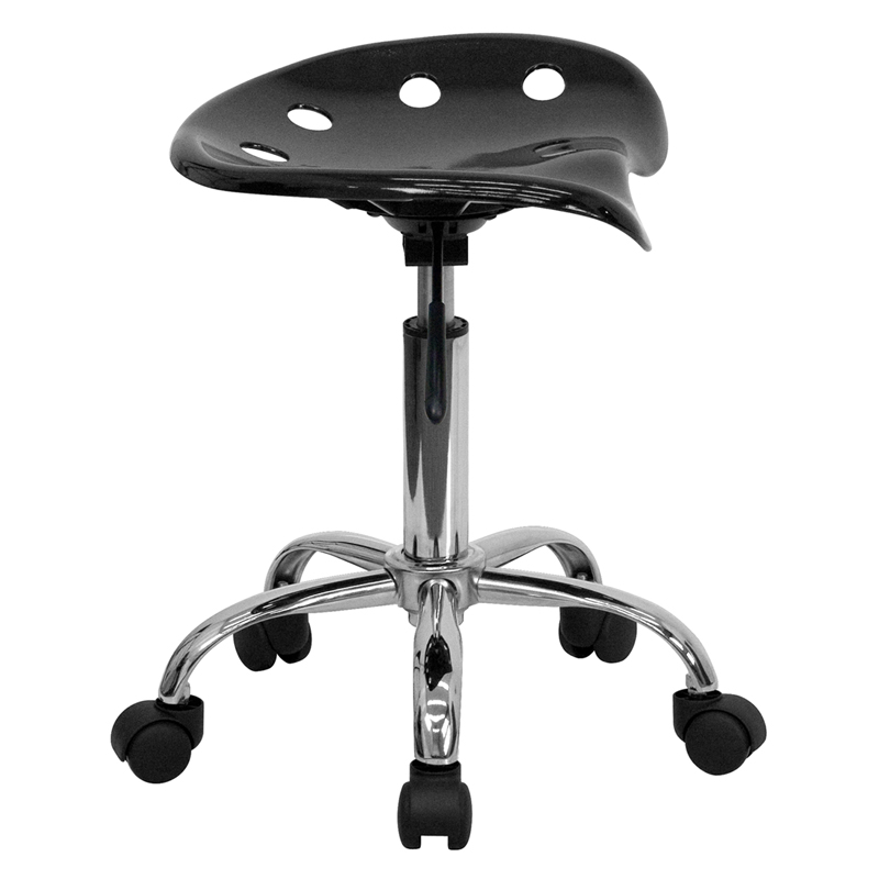 Offex LF-214A-BLACK-GG Vibrant Black Tractor Seat and Chrome Stool