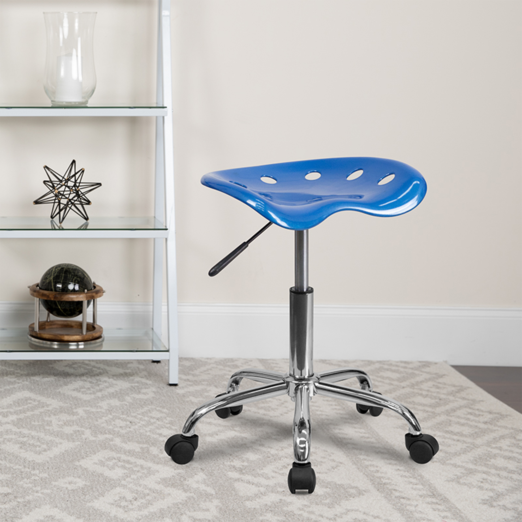 Offex LF-214A-BRIGHTBLUE-GG Vibrant Bright Blue Tractor Seat and Chrome Stool