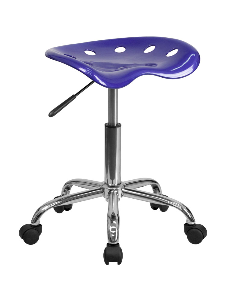 Offex LF-214A-DEEPBLUE-GG Vibrant Deep Blue Tractor Seat and Chrome Stool