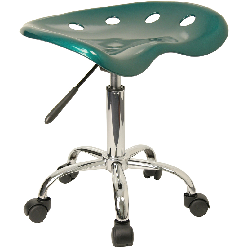 Offex LF-214A-GREEN-GG Vibrant Green Tractor Seat and Chrome Stool