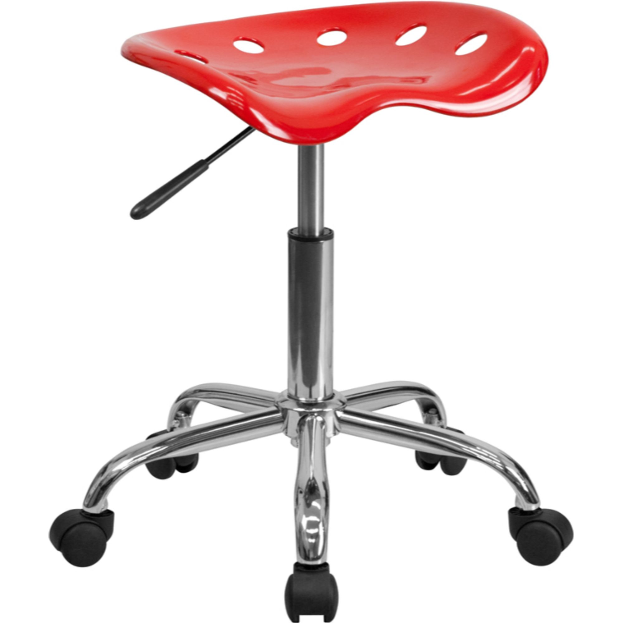 Offex LF-214A-RED-GG Vibrant Red Tractor Seat and Chrome Stool