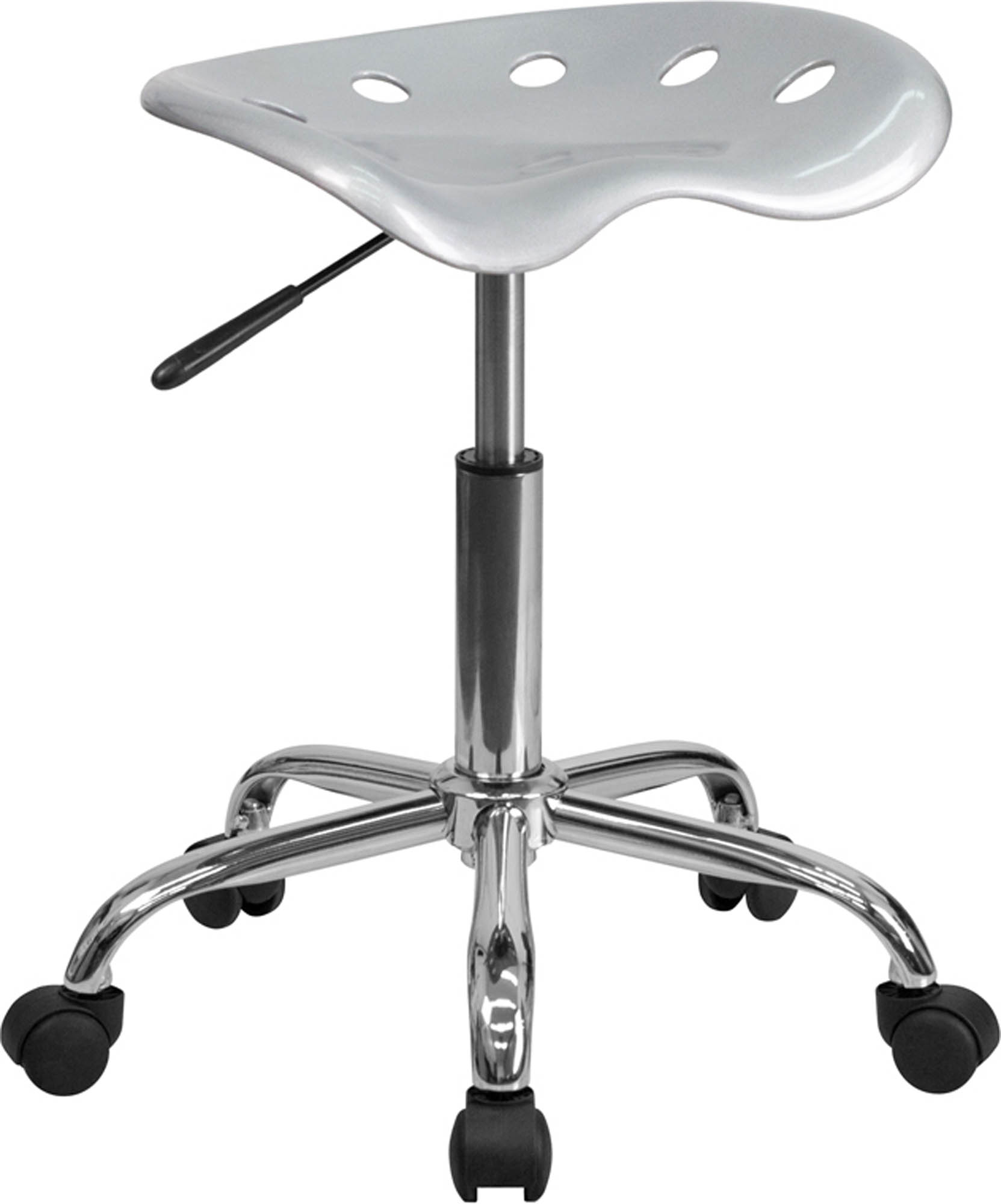 Offex LF-214A-SILVER-GG Vibrant Silver Tractor Seat and Chrome Stool