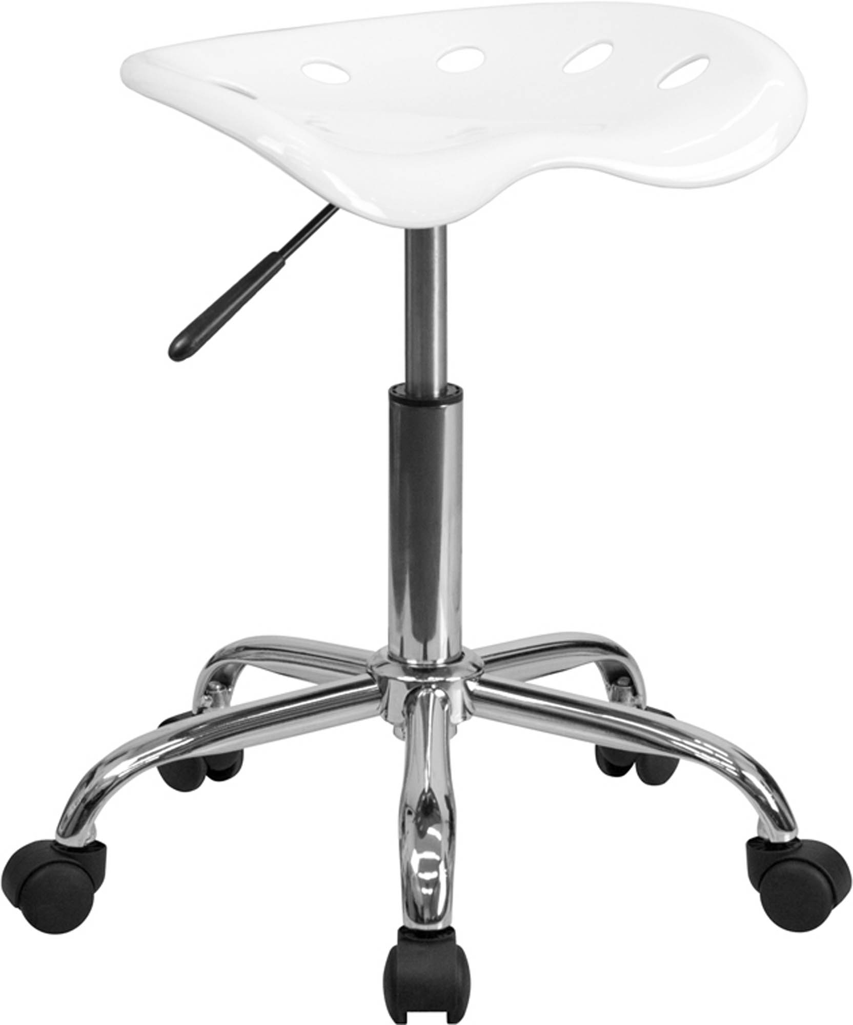 Offex LF-214A-WHITE-GG Vibrant White Tractor Seat and Chrome Stool
