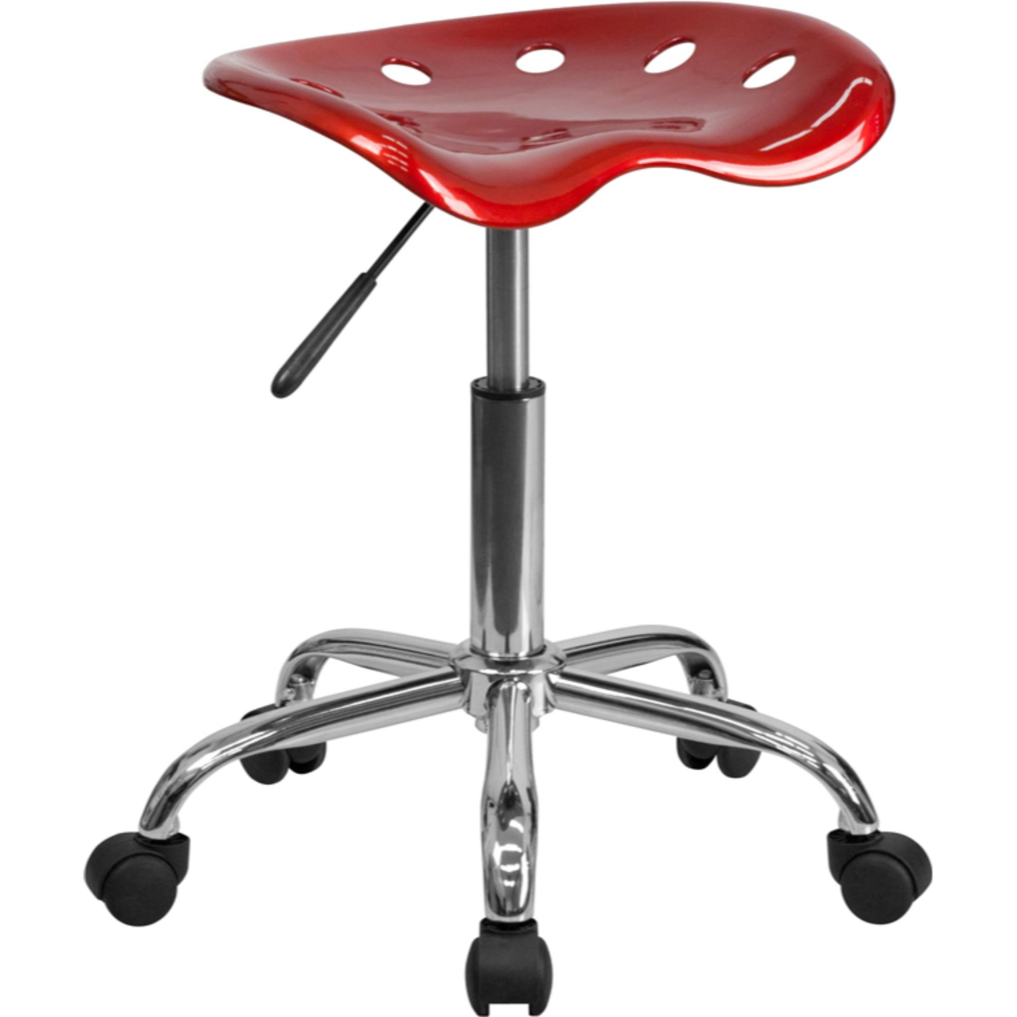 Offex LF-214A-WINERED-GG Vibrant Wine Red Tractor Seat and Chrome Stool