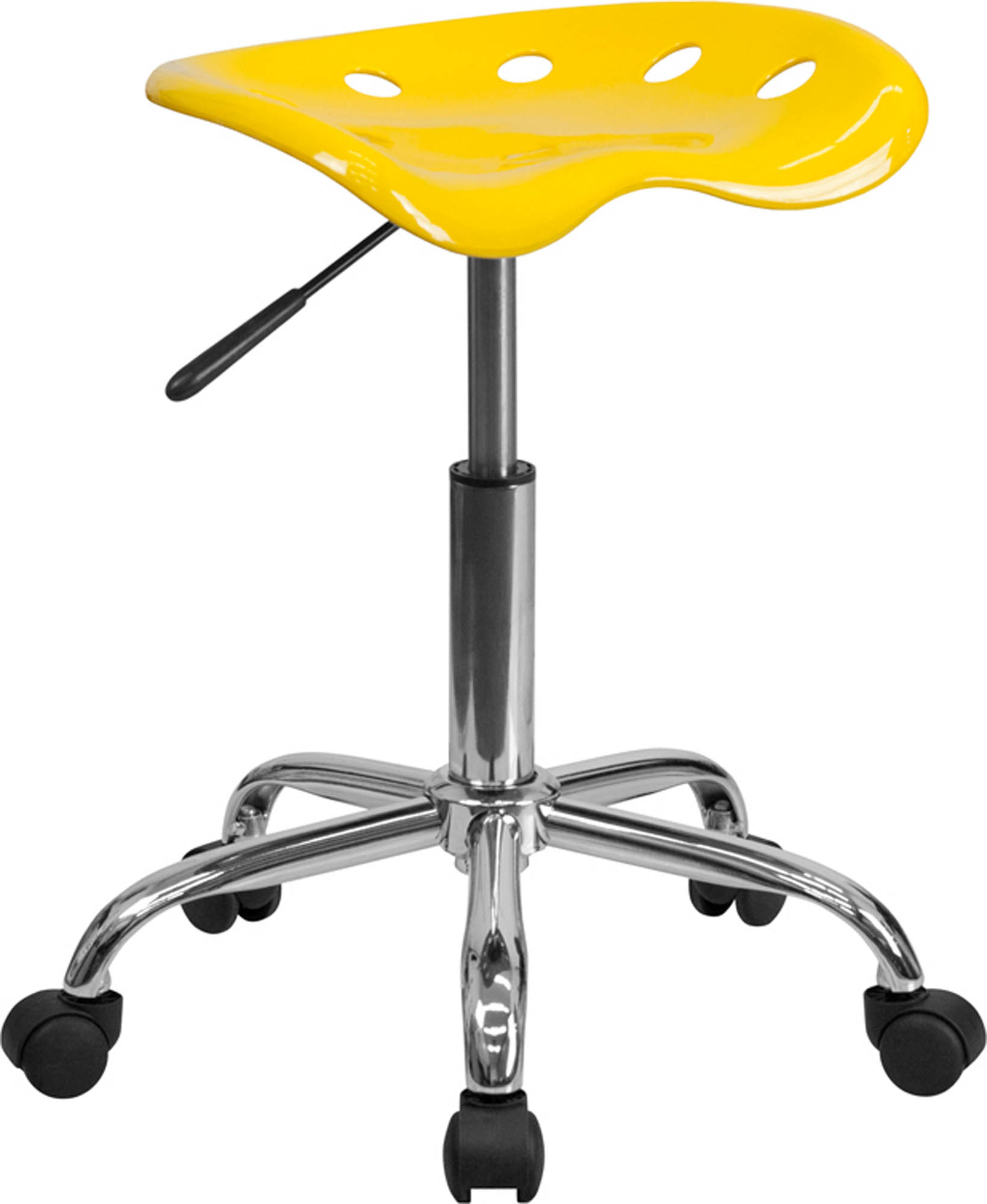 Offex LF-214A-YELLOW-GG Vibrant Orange-Yellow Tractor Seat and Chrome Stool
