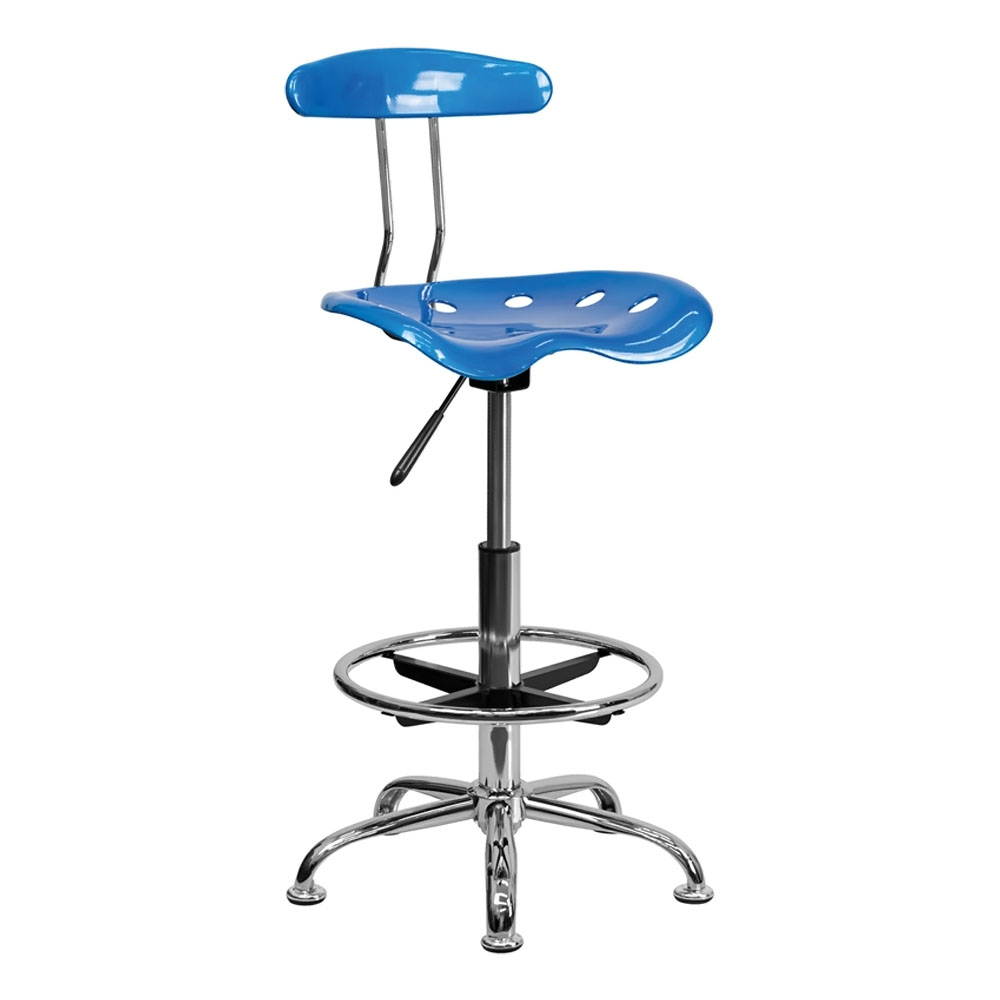 Offex LF-215-BRIGHTBLUE-GG Vibrant Bright Blue and Chrome Drafting Stool with Tractor Seat