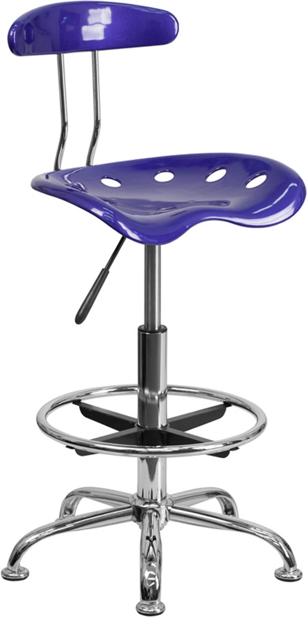 Offex LF-215-DEEPBLUE-GG Vibrant Deep Blue and Chrome Drafting Stool with Tractor Seat
