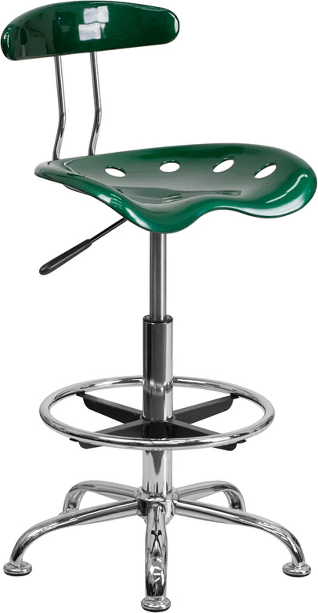 Offex LF-215-GREEN-GG Vibrant Green and Chrome Drafting Stool with Tractor Seat