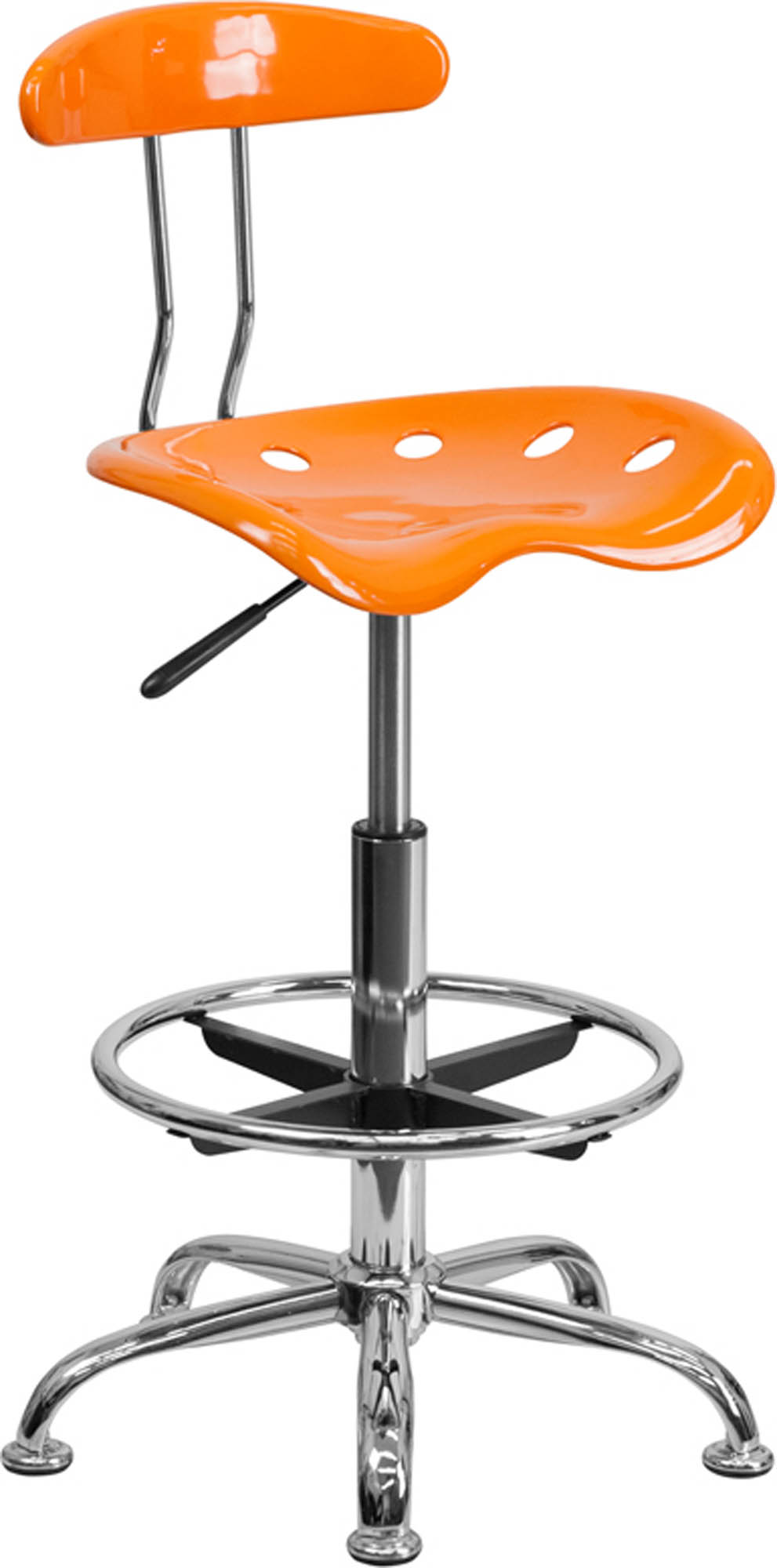 Offex LF-215-ORANGEYELLOW-GG Vibrant Orange and Chrome Drafting Stool with Tractor Seat
