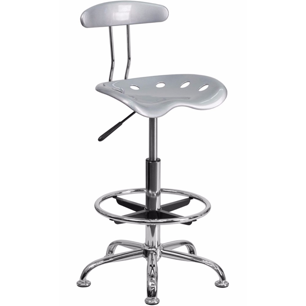Offex LF-215-SILVER-GG Vibrant Silver and Chrome Drafting Stool with Tractor Seat