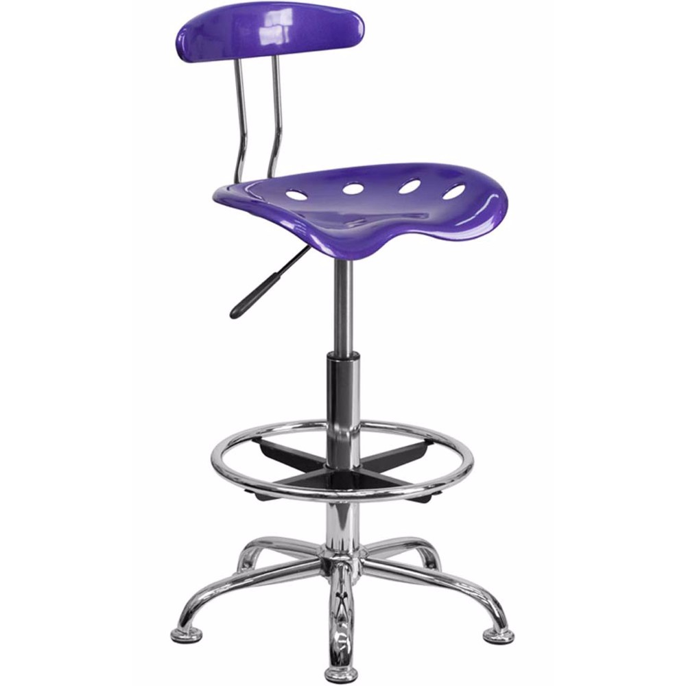 Offex LF-215-VIOLET-GG Vibrant Violet and Chrome Drafting Stool with Tractor Seat