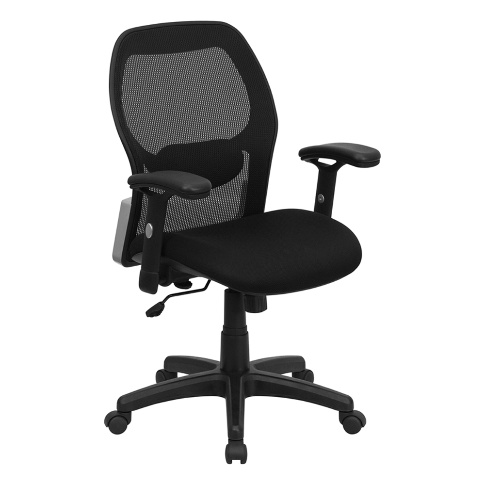 Offex Mid-Back Super Mesh Office Chair with Black Fabric Seat