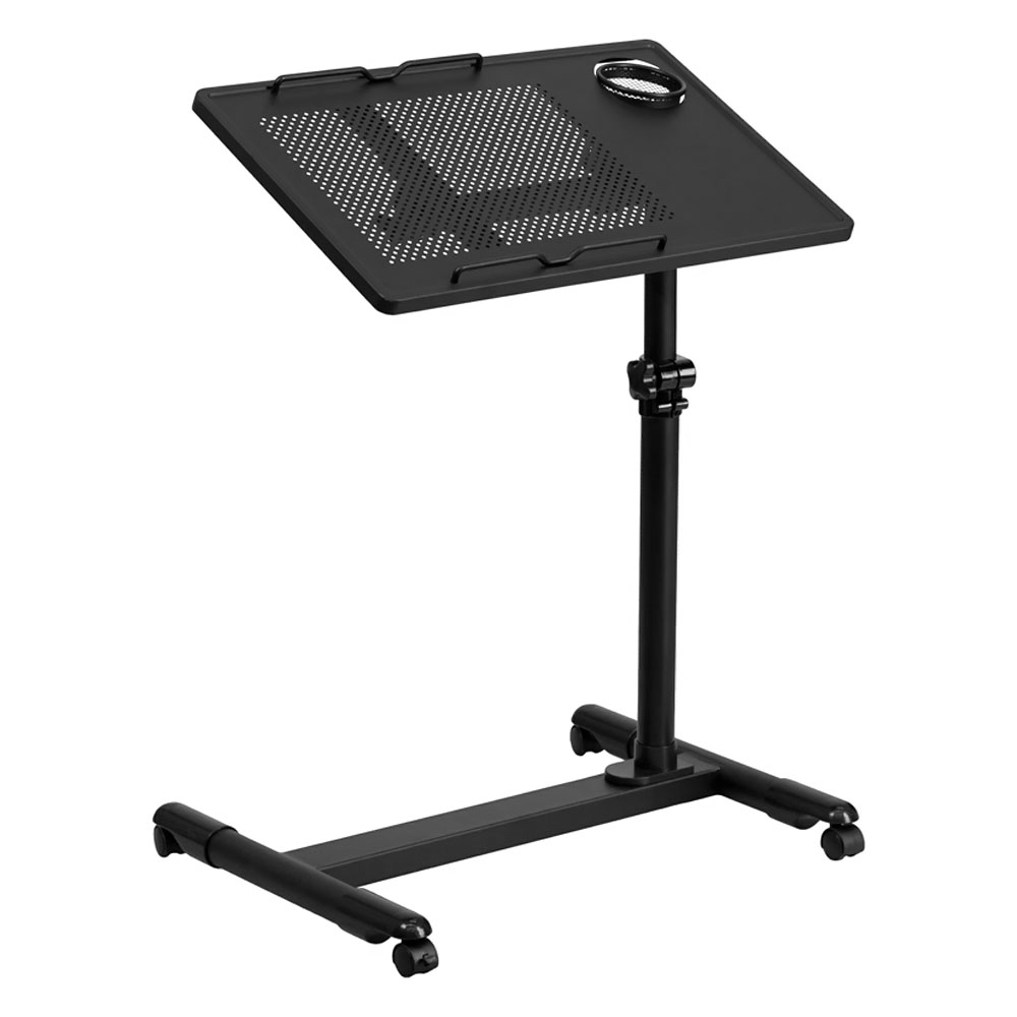 Offex Black Adjustable Height Steel Mobile Computer Desk