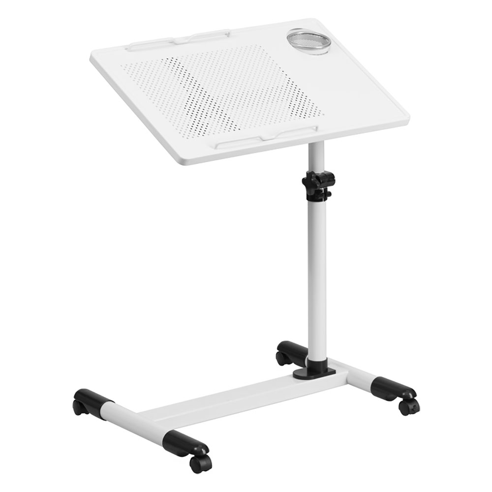 Offex NAN-JG-06B-WH-GG White Adjustable Height Steel Mobile Computer Desk