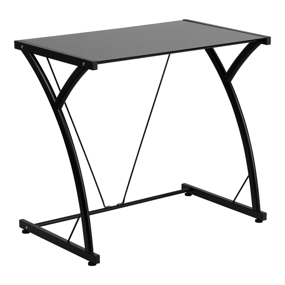 Offex Contemporary Tempered Black Glass Computer Desk With Matching Frame [NAN-WK-SD-02-BK-GG]