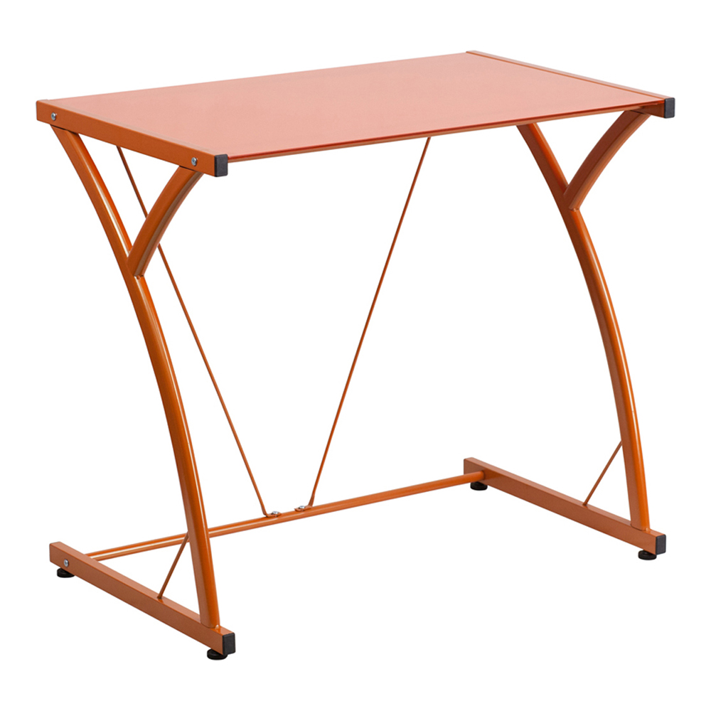 Offex Contemporary Tempered Orange Glass Computer Desk With Matching Frame [NAN-WK-SD-02-OR-GG]
