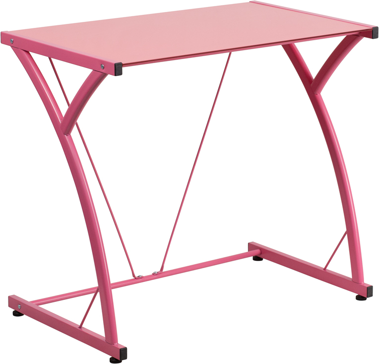 Offex Contemporary Tempered Pink Glass Computer Desk With Matching Frame [NAN-WK-SD-02-PINK-GG]