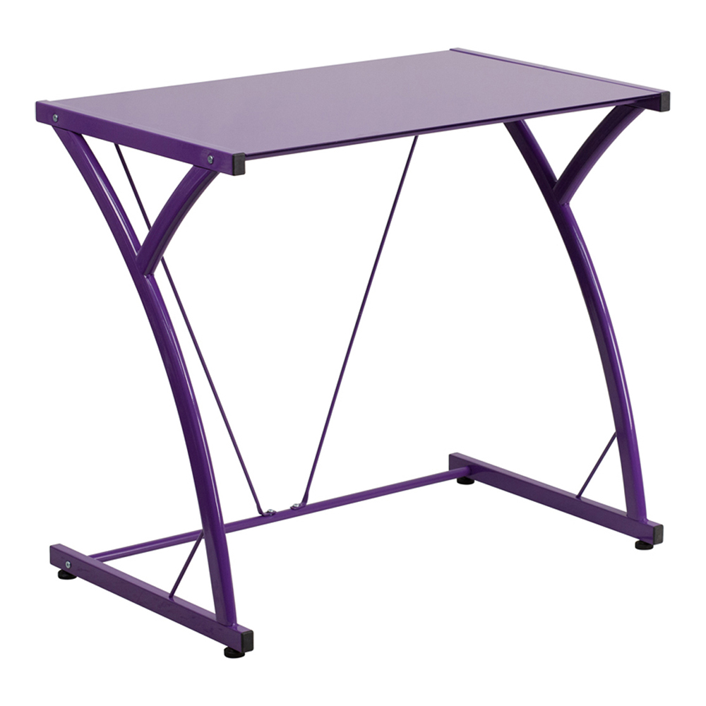 Offex Contemporary Tempered Purple Glass Computer Desk With Matching Frame [NAN-WK-SD-02-PUR-GG]