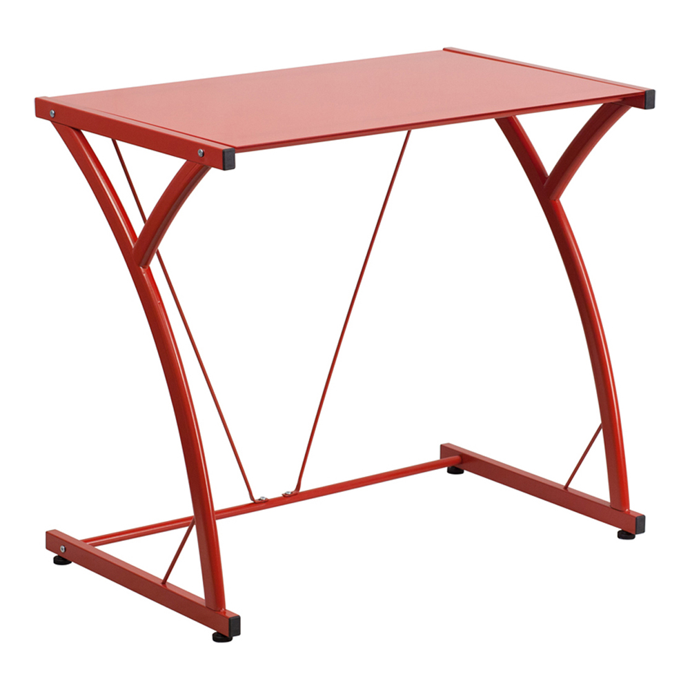 Offex Contemporary Tempered Red Glass Computer Desk With Matching Frame [NAN-WK-SD-02-RED-GG]