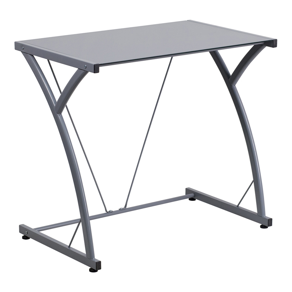 Offex Contemporary Tempered Silver Glass Computer Desk With Matching Frame [NAN-WK-SD-02-SIL-GG]