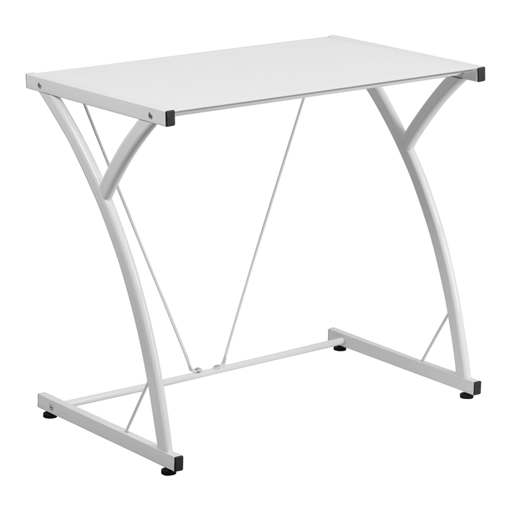 Offex Contemporary Tempered White Glass Computer Desk With Matching Frame [NAN-WK-SD-02-WH-GG]