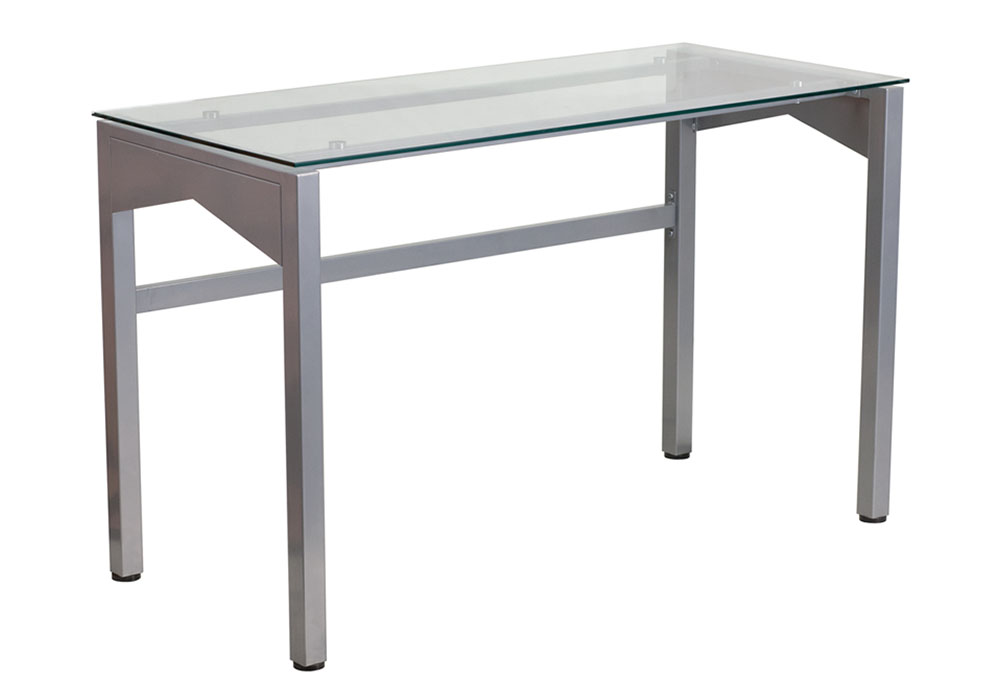 Offex Office Contemporary Desk With Clear Tempered Glass Top - 47.25''W x 21.75''D x 29.25''H