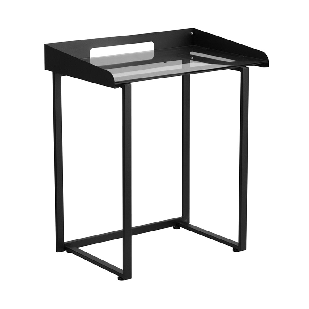 Offex Office Contemporary Desk With Clear Tempered Glass And Black Frame