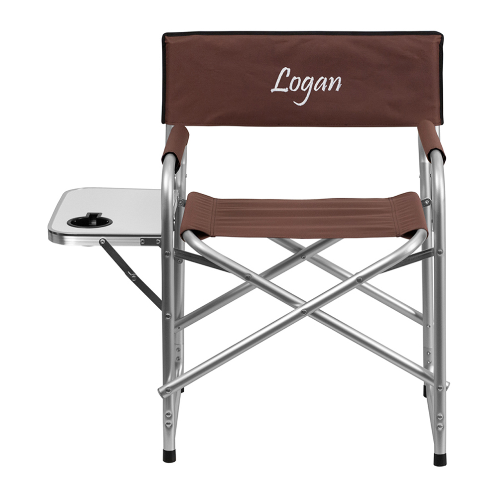 Offex Embroidered Aluminum Folding Camping Chair with Table and Drink Holder in Brown