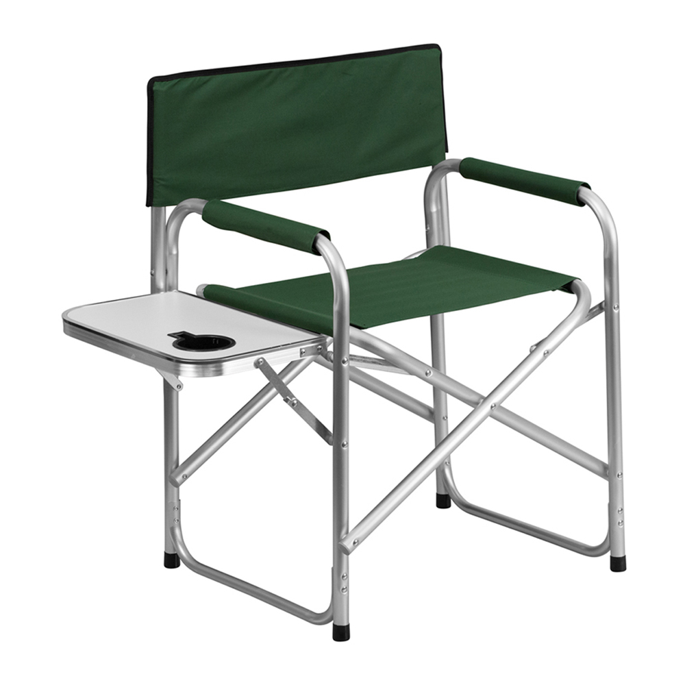 Offex Aluminum Folding Camping Chair with Table and Drink Holder in Green