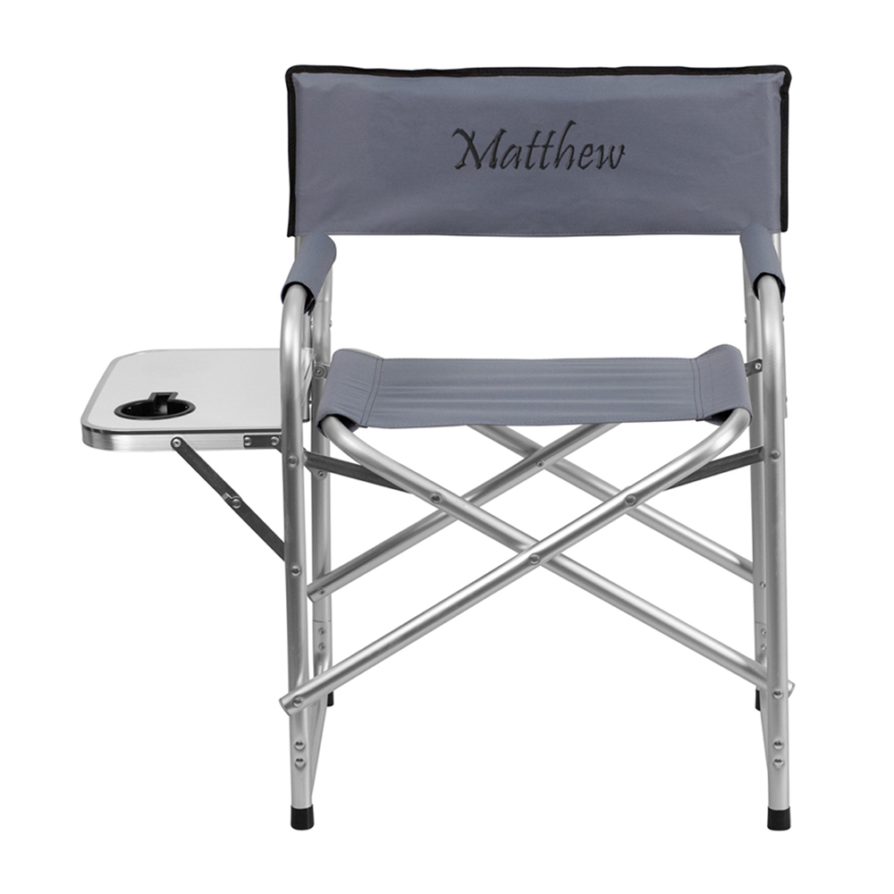 Offex Embroidered Aluminum Folding Camping Chair with Table and Drink Holder in Gray