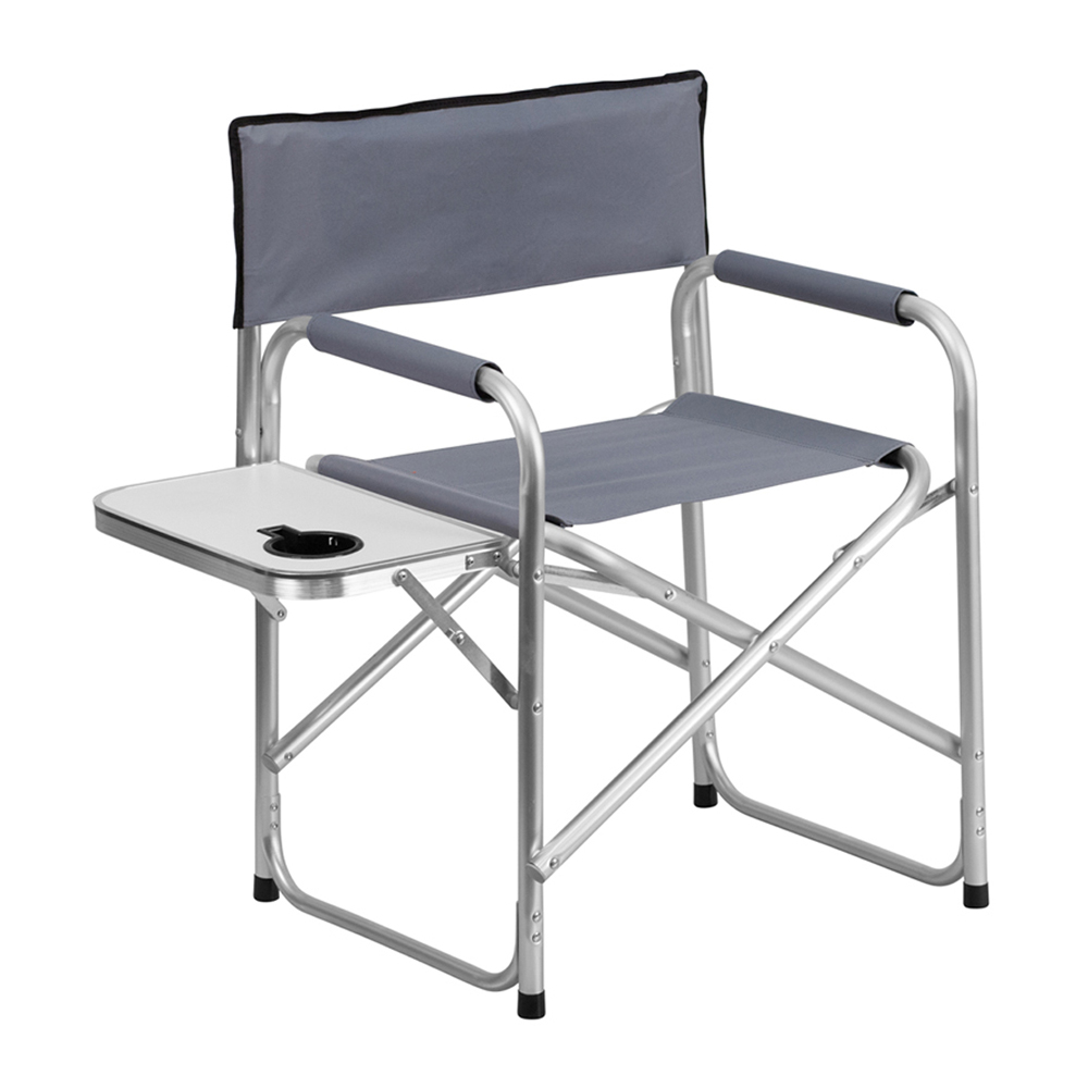 Offex Aluminum Folding Camping Chair with Table and Drink Holder in Gray