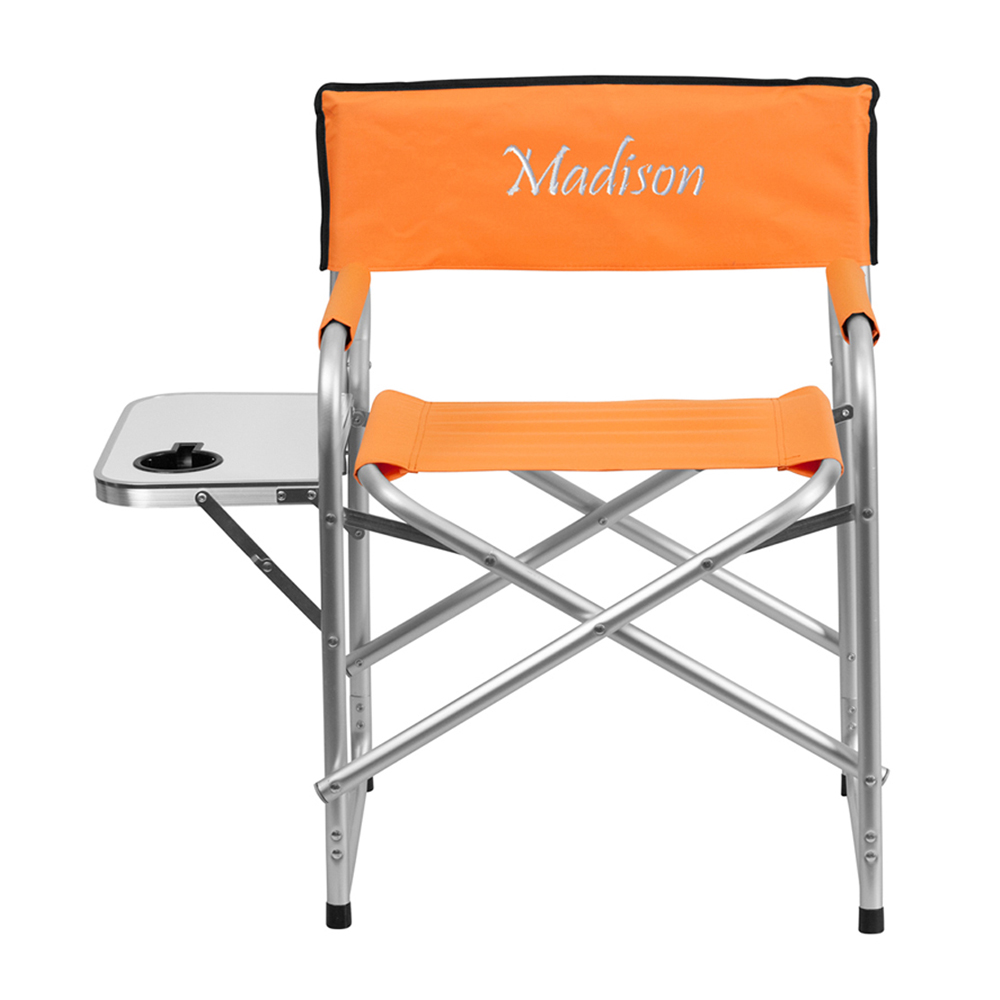 Offex Embroidered Aluminum Folding Camping Chair with Table and Drink Holder in Orange