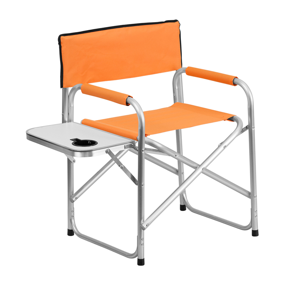 Offex Aluminum Folding Camping Chair with Table and Drink Holder in Orange