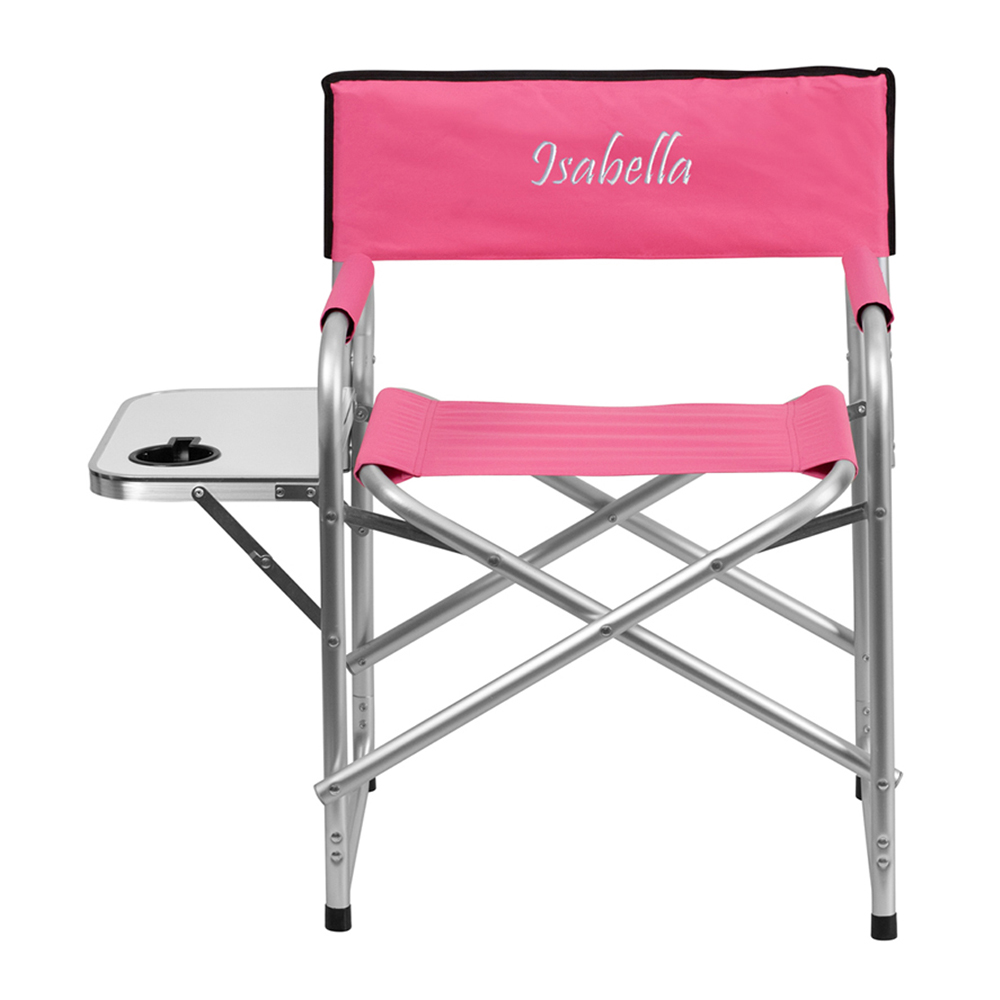 Offex Embroidered Aluminum Folding Camping Chair with Table and Drink Holder in Pink