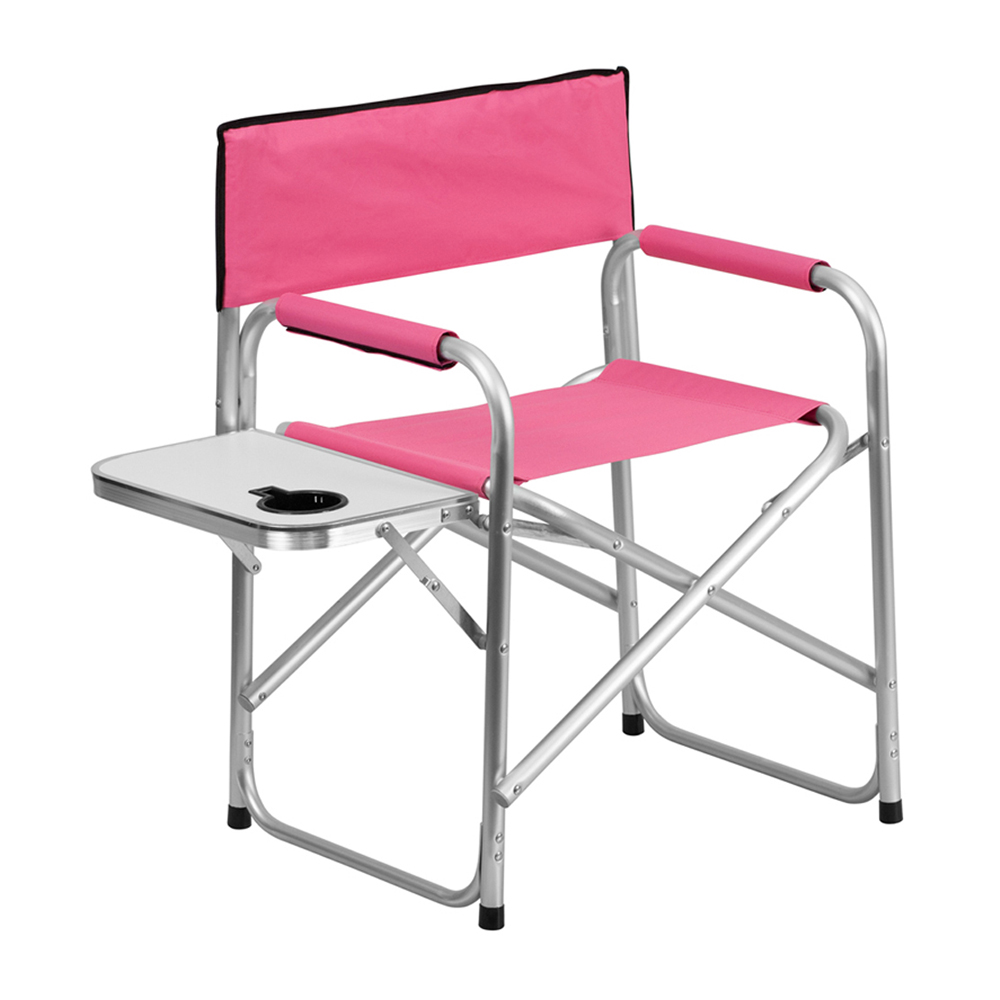Offex Aluminum Folding Camping Chair with Table and Drink Holder in Pink