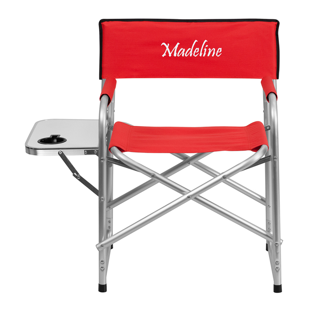 Offex Embroidered Aluminum Folding Camping Chair with Table and Drink Holder in Red