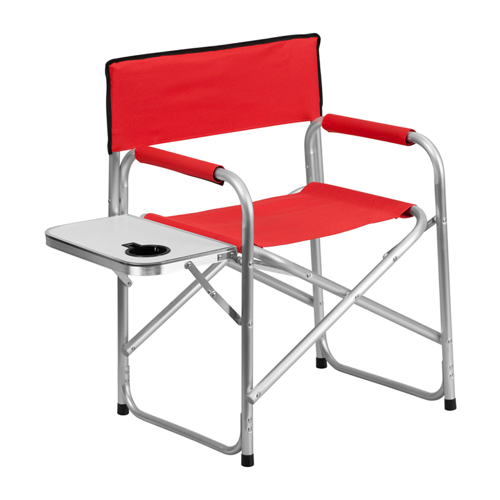 Offex Aluminum Folding Camping Chair with Table and Drink Holder in Red