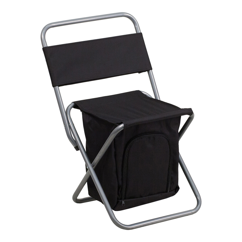 Offex Folding Camping Chair with Insulated Storage in Black