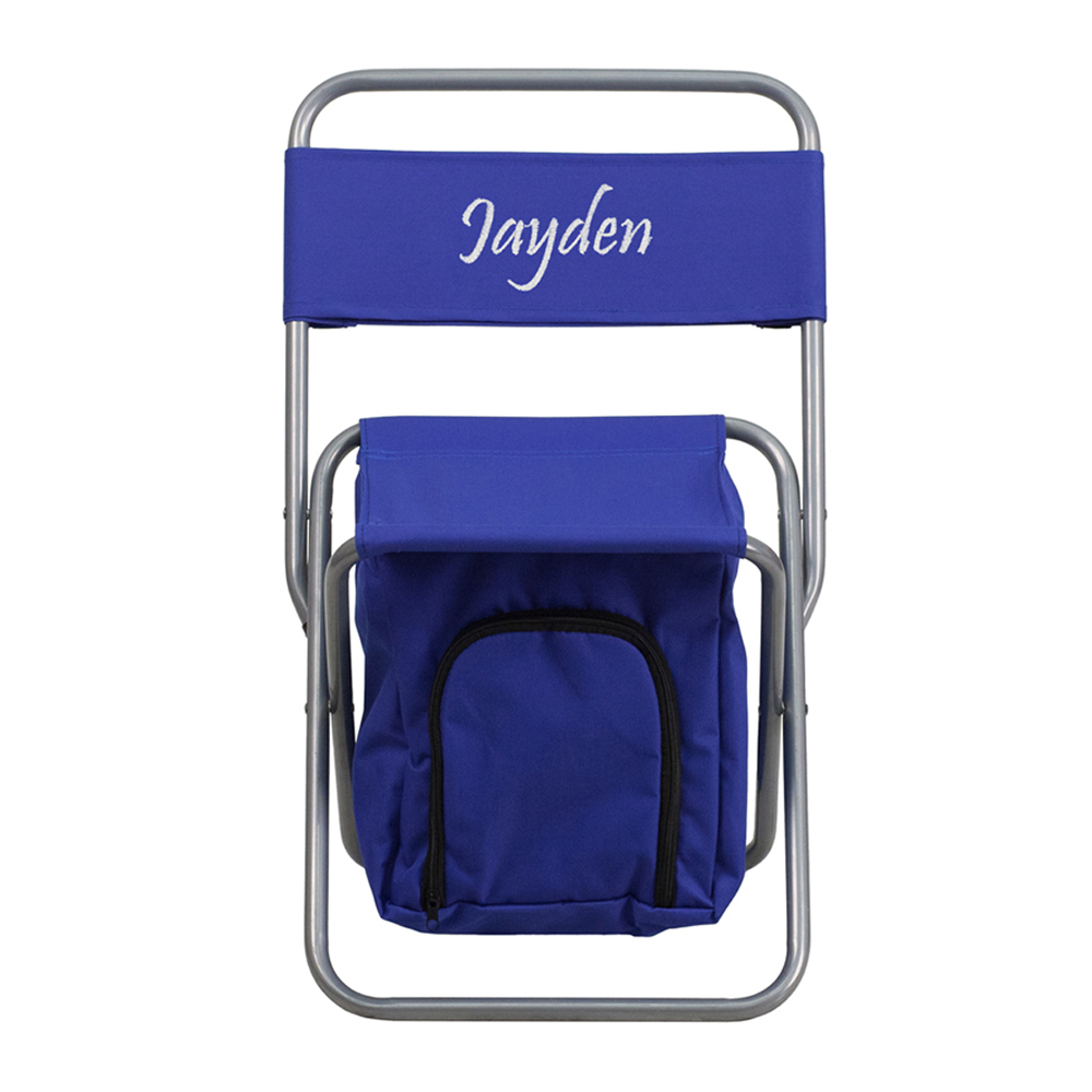 Offex Embroidered Folding Camping Chair with Insulated Storage in Blue
