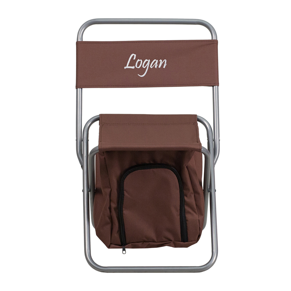 Offex Embroidered Folding Camping Chair with Insulated Storage in Brown
