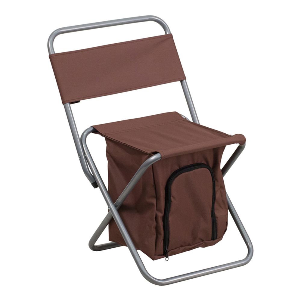 Offex Folding Camping Chair with Insulated Storage in Brown