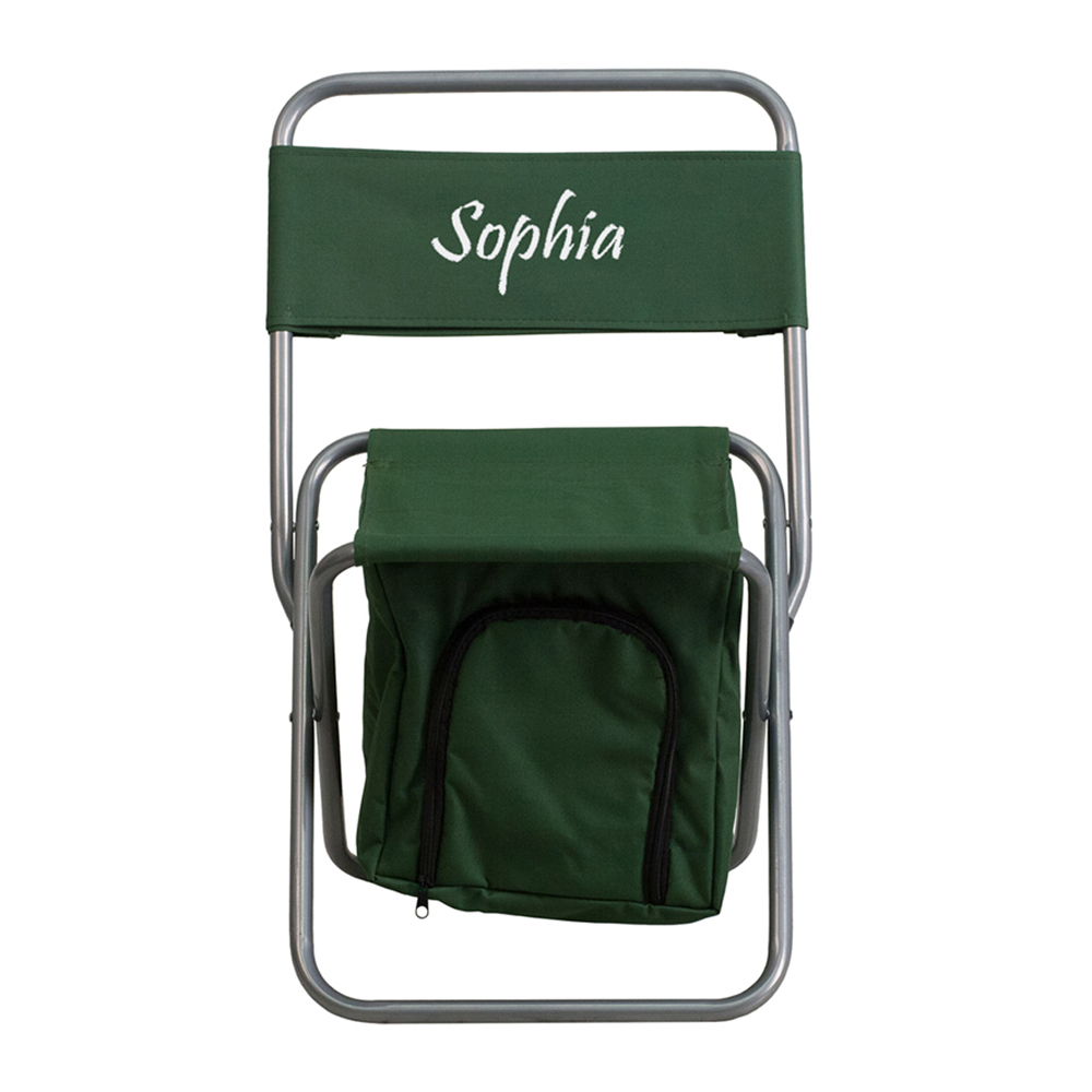 Offex Embroidered Folding Camping Chair with Insulated Storage in Green